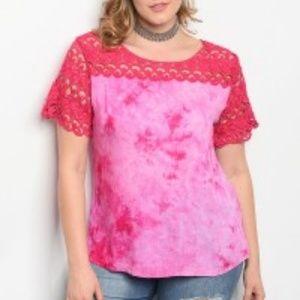 New short sleeve tie dye w/lace detail Plus size